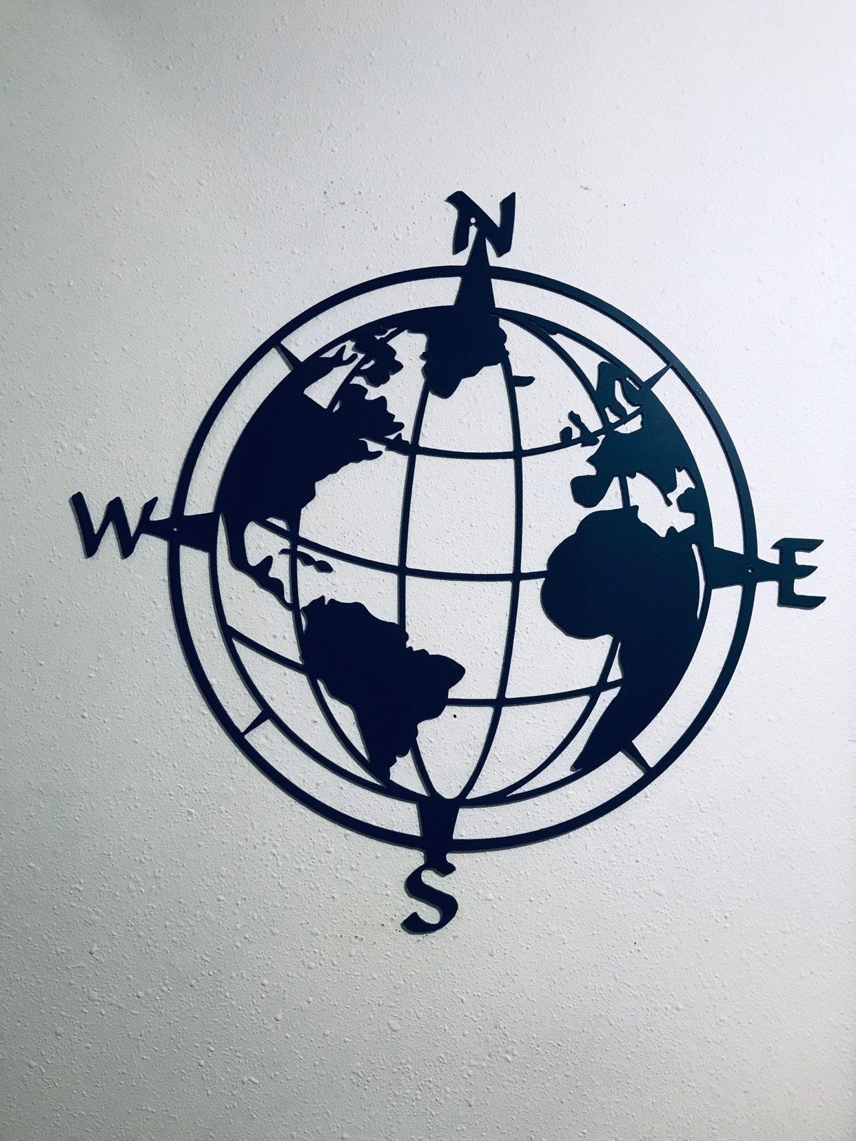 Compass with Globe Center Outdoor Metal Art Compass Wall Decor Nautical Compass Nautical Wall Art Compass Globe Metal Wall Art