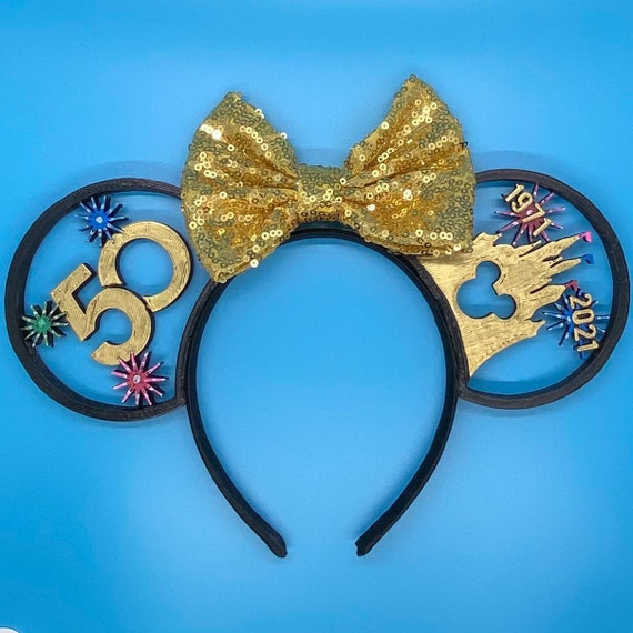 50th Golden Anniversary Disney World-Inspired 3D Printed Disney Ears Headband