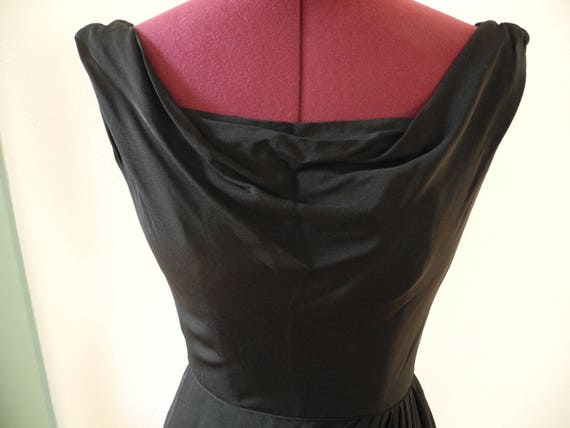 Ceil Chapman Gathered Black Silk Crepe Wiggle Coc… - image 2