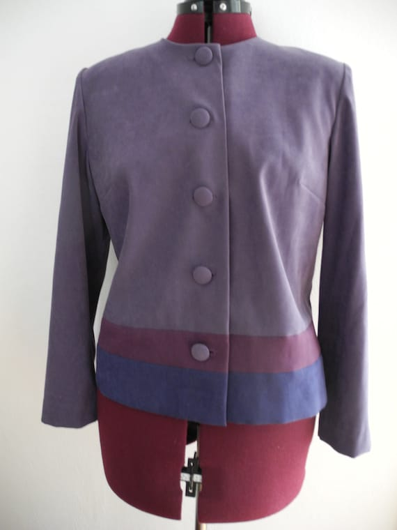 80s Color Block COOL PASTEL PURPLES Boxy Blazer Ov