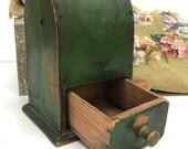 Antique Primitive Green Coffee Grinder Drawer Folk European Green Paint Farmhouse Tabletop Grinder