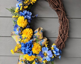 Blue and Yellow Floral Grapevine Wreath
