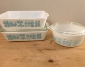 Pyrex Butterprint in Turquoise Two 503 Refrigerator Dishes, One with Lid and One 472 1 1 2 Pint with Lid