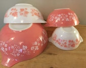 Pyrex Pink Gooseberry Cinderella Bowls Complete Set of 4, Retro 1957, Rare Set, Great Vintage Condition