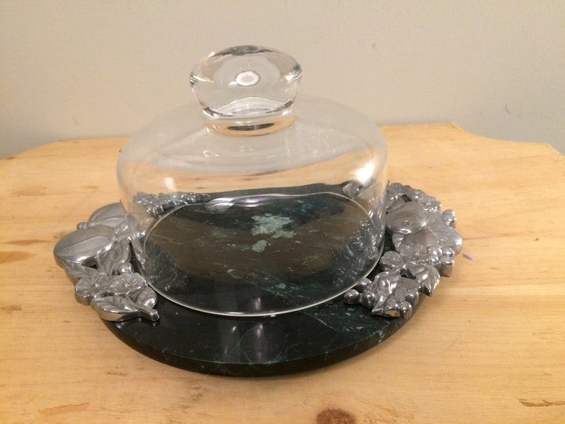 Lenox Orchard in Bloom Covered Cheese Dish Cheese Cloche with Marble Base -  stunning variation in the marble, beautiful serving piece