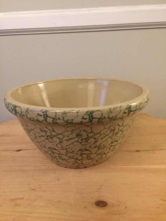 Vintage Robinson Ransbottom Green Sponge Ware Stoneware Mixing Etsy