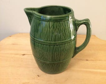 """Vintage McCoy Green Stoneware Barrel Pitcher, Marked with Shield Mark 4 (8""""Tall)"""