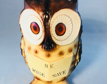 Be Wise Save Vintage Ceramic Owl Bank
