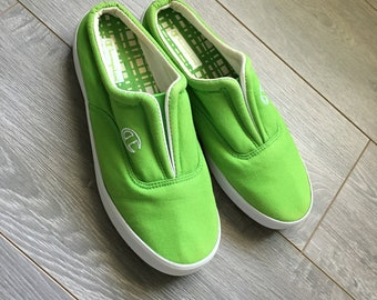 1e03dab075f Womens Vintage Champion slip-on shoes lime green and white with gum outsole  rare deadstock old generation champion slides womens size 5 shoe