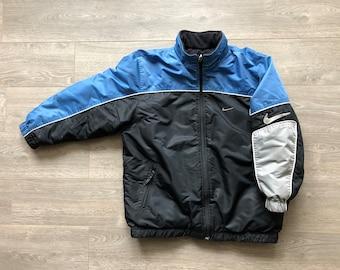4aa1ece697 Rare reversible Nike jacket XS Men s boys XL black blue silver unisex rare Nike  vintage fleece lined big logo big swoosh Nike spell out