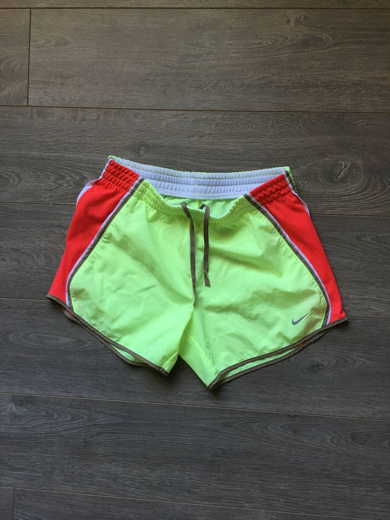 52d3c1a941f46 Womens vintage nike shorts neon yellow bright neon nike workout shorts size  womens L flourescent yellow and APPLE RED red 3M SWOOSH nike