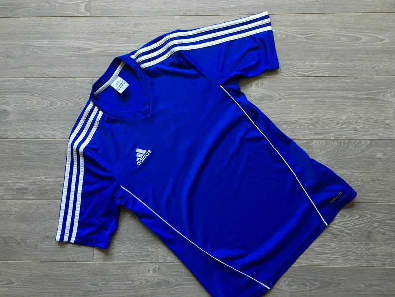 7e19a83ed Vintage adidas shirt size S blue soccer jersey number 1 rare