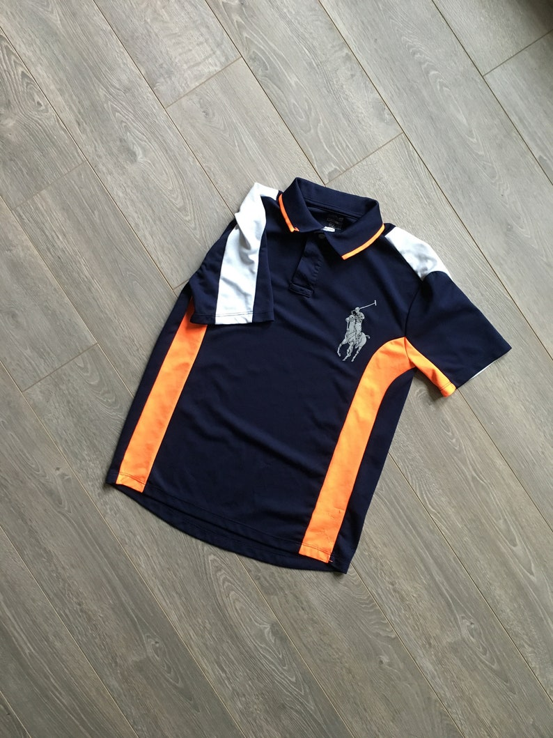 406ec8f29d4 Big Pony Vintage polo Ralph Lauren shirt size youth L navy and bright  orange polo shirt big logo color blocked vintage collared horse polo