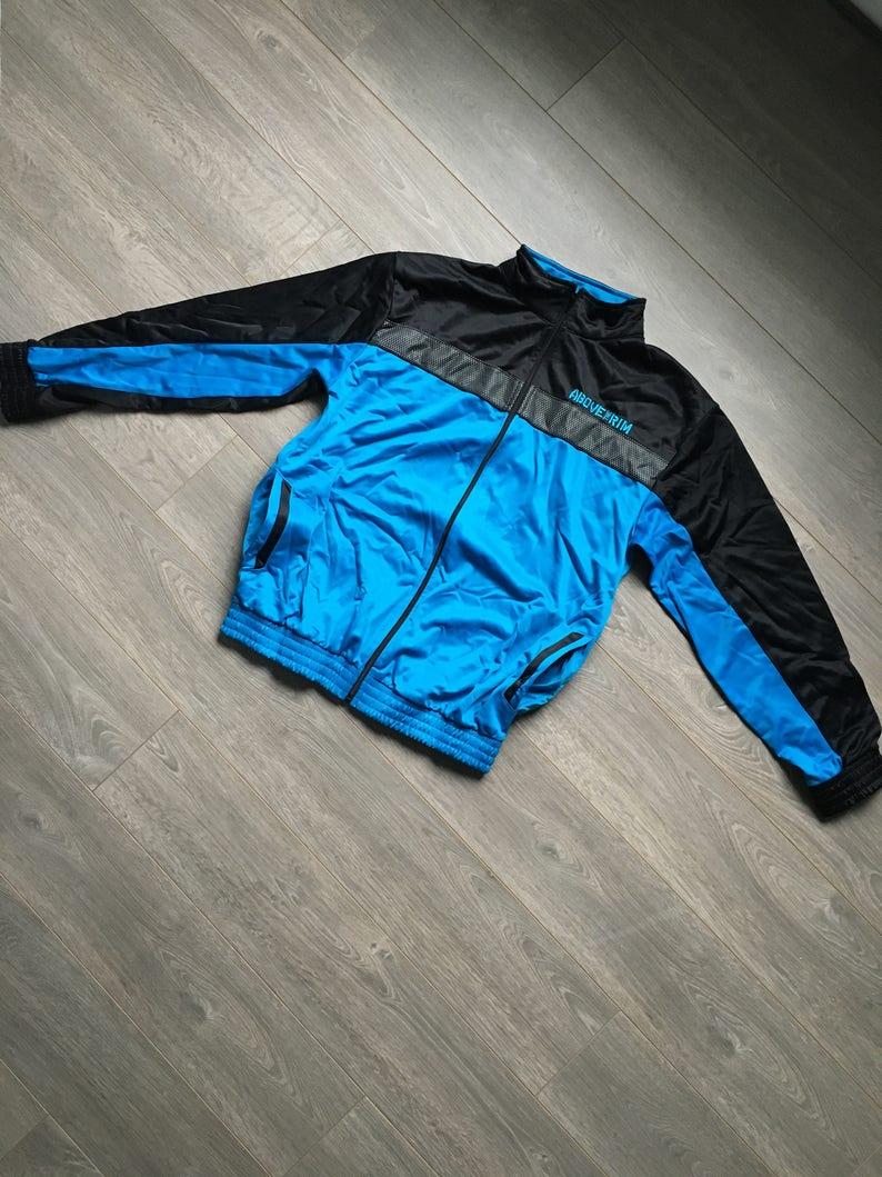 ABOVE THE RIM vintage basketball track jacket size mens M blue tracksuit top unique fashion sleek sporty blue jacket ball is life baller
