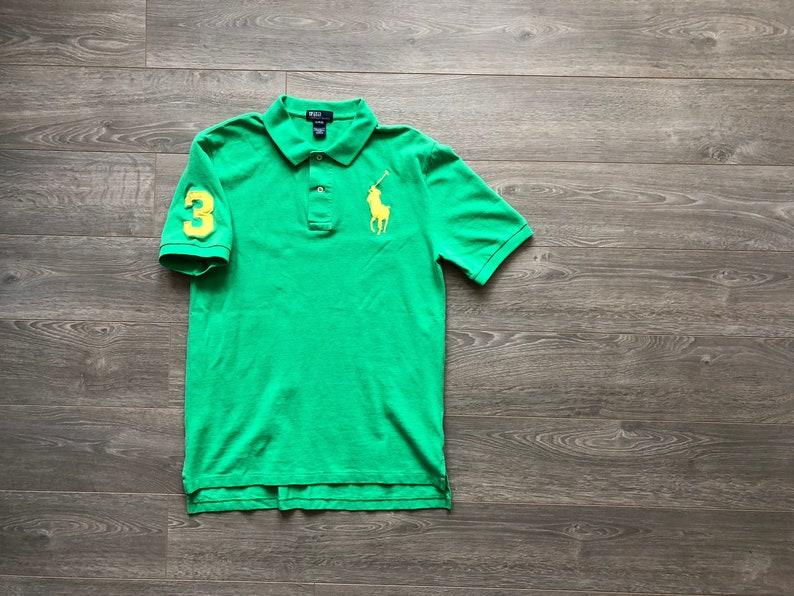 6e6de03acf Vintage POLO Ralph Lauren boys XL 18-20 big pony green yellow   Etsy