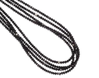 600 Antique Jet Black Rough English Cut Czech Glass 3mm Faceted Beads RARE Hank
