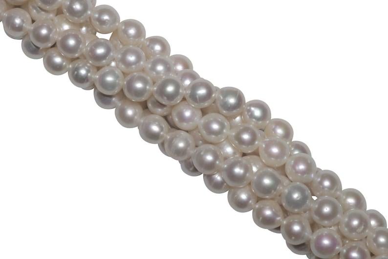 White Freshwater Pearl 8mm Baroque 16 Bead Strand
