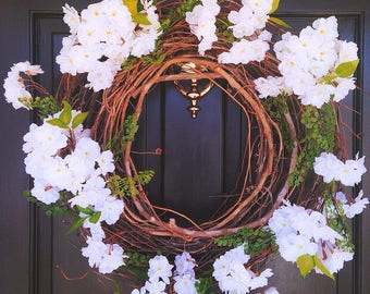 White cherry blossom Spring wreath