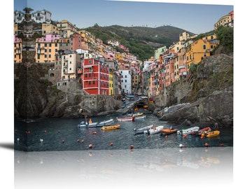 Riomaggiore Cinque Terre Italy Art Print Wall Decor Image - Canvas Stretched Framed