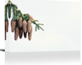 Spruce Pine Cones Branch Art Print Wall Decor Image - Canvas Stretched Framed