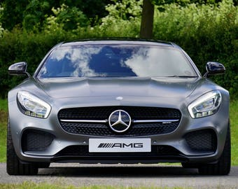 Mercedes AMG Gray Sports Car Art Print Wall Decor Image Detail Color - Unframed Poster
