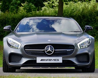 Mercedes AMG Gray Sports Car Art Print Wall Decor Image Unstretched - Unframed Canvas