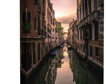 Venice Italy Canal Street Art Print Wall Decor Image - Canvas Stretched Framed