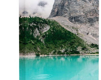 Teal Mountain Lake Landscape Art Print Wall Decor Image - Canvas Stretched Framed