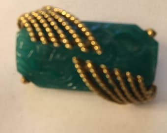 Vintage Goldette Molded Jade Glass Brooch Pin