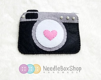 Camera with hearts themed coin purse / wallet