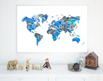 Watercolor world map etsy beautiful world map printable watercolor world map wall art printable world map world gumiabroncs Image collections