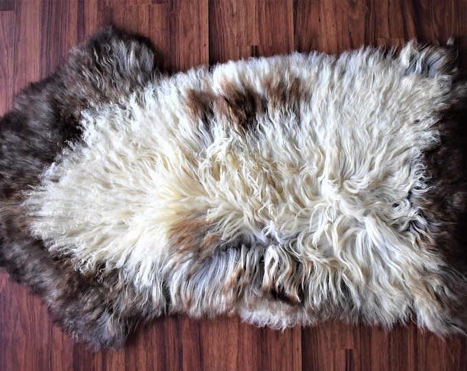 Real Icelandic Genuine Sheepskin Rug  Beige Brown Long Fur