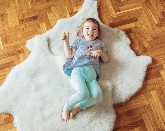 2 Pcs. Gentle Sheepskin Rug, Natural Soft Ivory-White Sheepskin Rug, Sheepskin, Sheep Rug, Sheepskin Rug