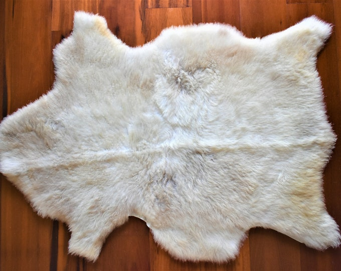 Sheepskin Rug, Ethically Sourced Sheepskin Throw, Gentle Cream Beige Wool Leather Rug