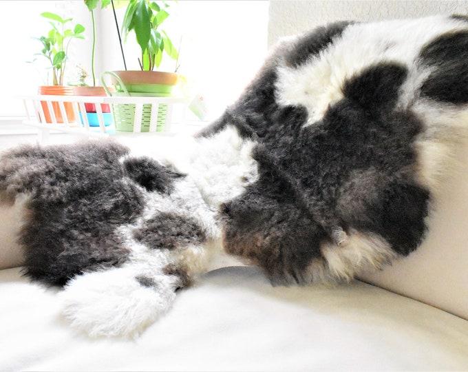 BESTSELLER Beautiful Cream Brown  Genuine SHEEPSKIN rug   Natural Humanely Sourced    Scandinavian Style Rustic Home Decor