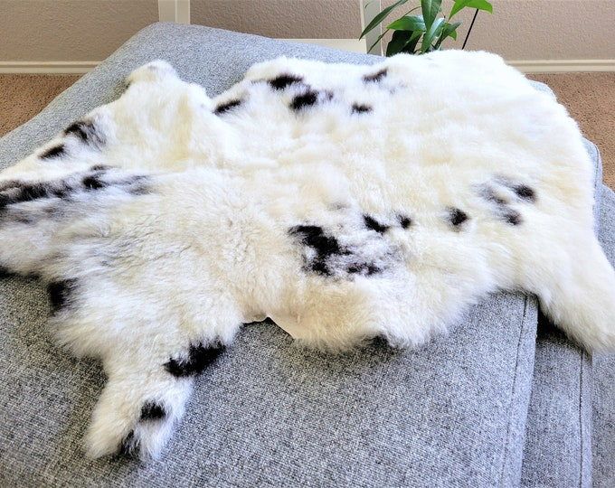 Nursery Mat, Stunning Sheepskin Throw, Leather Rug, Eco Friendly Products, White Black , 26 x 31 in.