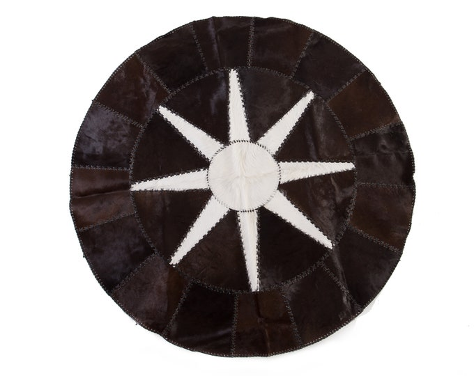 AYDIN Luxury Round Cowhide Patchwork Rug, Black and White Hair-on-Hide, Diameter 5'2""
