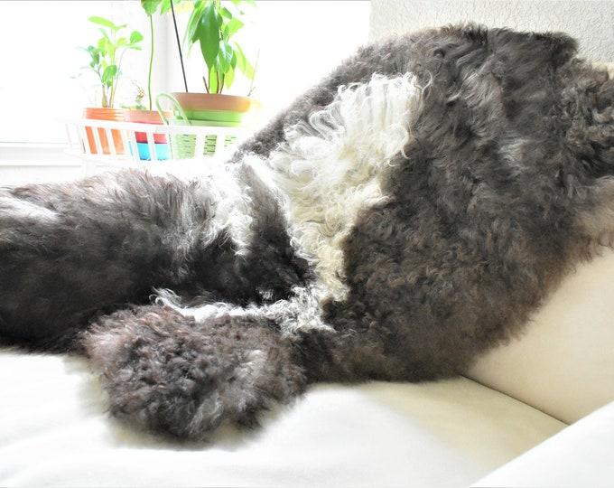 Real Icelandic Genuine Sheepskin Rug  Brown Fur