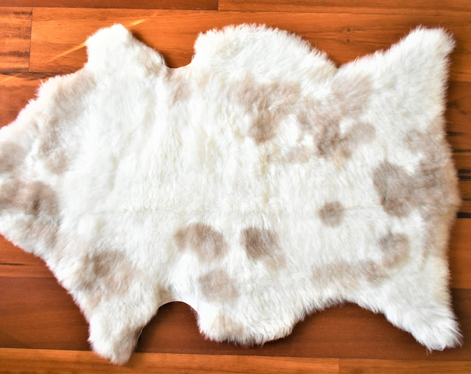 Real Icelandic Genuine Sheepskin Rug Cream Brown  Fur