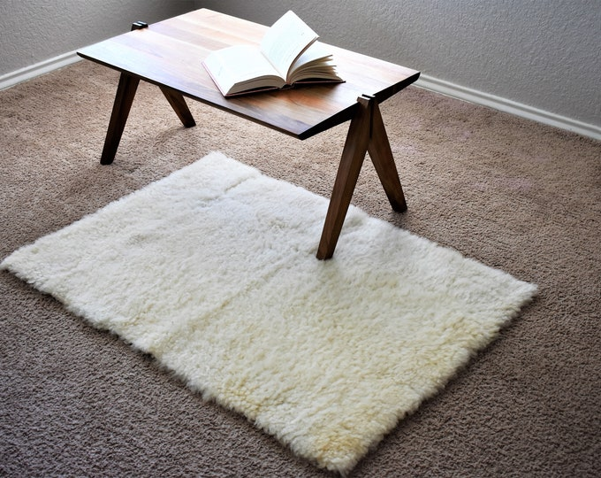 Mid Century White Sheepskin Rug, Scandinavian Decor Rectangle Sheep Skin, Danish Modern Genuine Sheepskin Rug