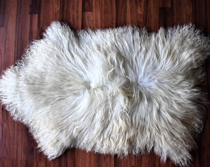 BIG SHEEPSKIN White RUG Throw Genuine Sheepskin Rugs Sheep Skin Cheap Rugs, Discount Rugs, Shaggy Rug, Scandinavian Style
