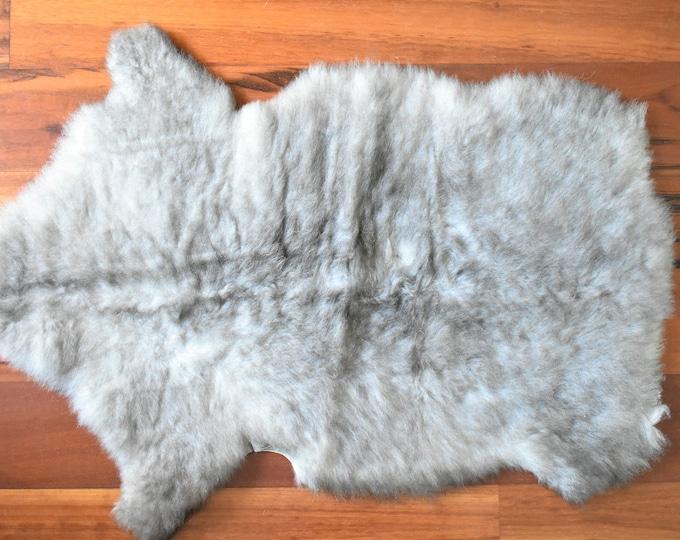Swedish Rug, Elegant Fur Pelt, Gray Wool