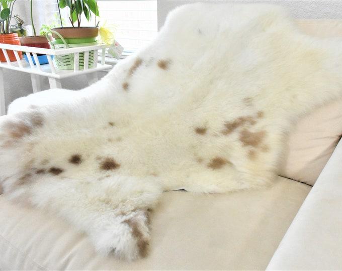 Swedish Rug, Sheepskin Pelt, Soft Shag Rug, Lodge Decor Gorgeous Cream Brown Rug
