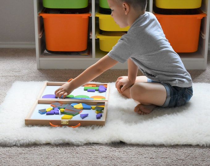 Sheepskin Kids Play Mat, Montessori Work Place Mat, Genuine Natural Sheepskin Rug, Montessori Classroom Rug, Montessori Bed Side Rug