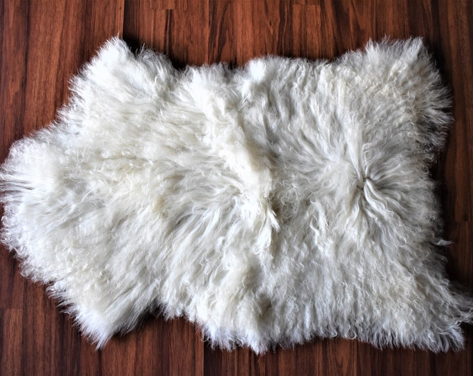 "Virus Resistant Country Decor Sheepskin Rug, Grown by Locals Eco-Friendly, White Long Wool, 2'0""x2'10"""