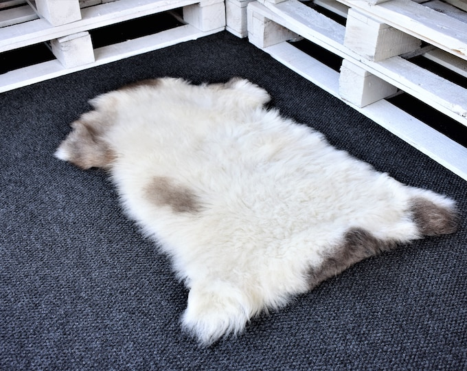 "Virus Resistant Genuine Sheepskin Rug Grown by Nature Imported Sheepskin Pelt, Ethically Sourced in Europe,Cream  Brown Long Wool, 2'0""x2'9"""