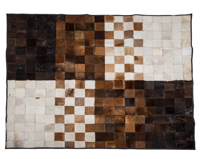 "AYDIN Mosaic Cowhide Patchwork Area Rug 5'3"" x 6'3"""
