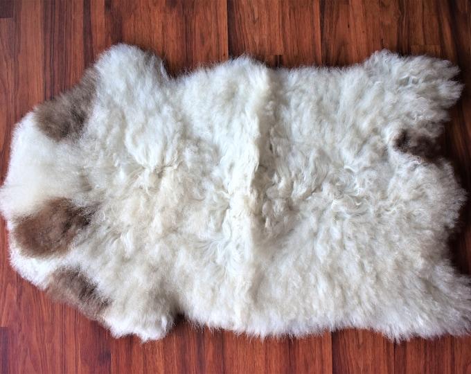 Original, Natural White Cream Brown Genuine Sheepskin Rugs Shag Rug Natural Rug draped on chair bench cheap fur rug good gift