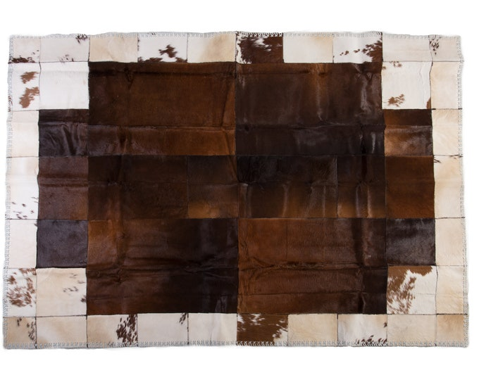 "AYDIN Luxury Cowhide Patchwork Area Rug, Large Hand Crafted Ethically Sourced, Hair-On-Hide, 6'3"" x 8'9"""