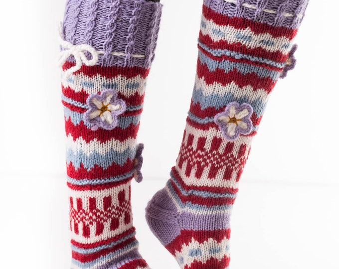 Virus Resistant Women's Socks Bio-Friendly Hand Knit Wool, Knee High, 100% Sheep Wool